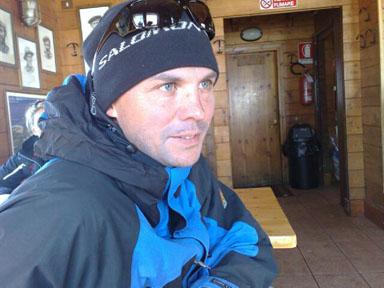Alps 2008 - Tomas in the Refugio Guides de Cervino hut at 3.480 meters