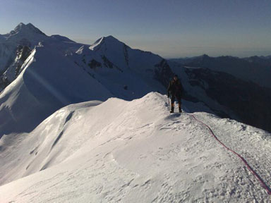 Alps 2008 - Anders on the Summit ridge of Breithorn