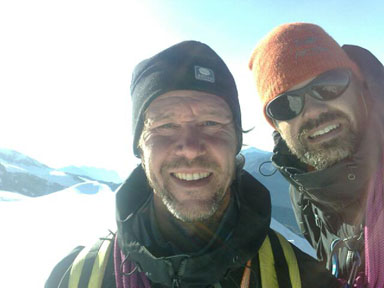 Alps 2008 - Anders Grawin & Per Jerberyd on the summit of Castor