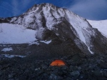 2011-08 Mont Blanc - My Marmot tent with Grand Colouir behind. Note the building of the new Gouter hut